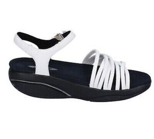 MBT comfort white leather curve rocker sole kaweria buckle summer sandal  39 8.5