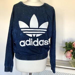 Adidas Originals wash denim sweatshirt jumper top 10 M elasticated long sleeves