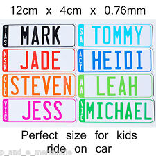 NOVELTY KIDS PERSONALISED NUMBER PLATE with ADHESIVE STRIPS for kids ride on car