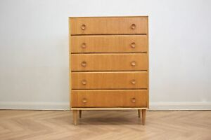 DELIVERY £60 Mid Century Oak Tallboy Chest of Drawers From Meredew