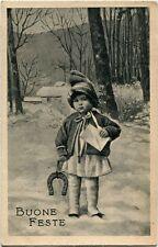 1930 Salice Terme - Pavia, Ritratto bimbo ferro cavallo lettera neve - FP B/N VG