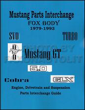 Mustang Parts Interchange Manual 1988 1987 1986 1985 1984 1983 1982 1981 1980