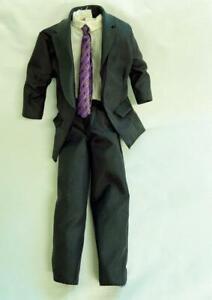 Vintage Barbie Ken Doll Authentic Black Suit Purple Tie Black Belt White Shirt