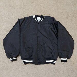 VTG Hartwell Blank Black Satin Baseball Jacket Snap Button USA Made Men's L