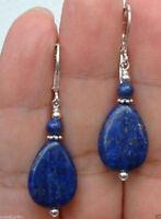 Beautiful Natural 13x18mm Lapis Lazuli Leverback Sterlin Silver Dangle Earrings