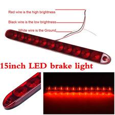"Red 15"" Waterproof 11 LED Light Bar Stop Turn Tail 3rd brake Light Truck Trailer"