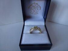 Pretty 9ct 9carat Yellow & White Gold Peridot & Diamond Cluster Ring, Size N