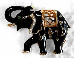 Vintage Decorated Elephant Brooch Pin Trunk Up Black Enamel White Rhinestones