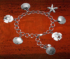 Sterling Silver Sand Dollar, Clam Shell, Scallop Shell and Starfish Bracelet
