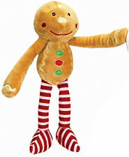 Christmas Teddy Soft Toy Dangly Legs Velcro Hands by Keel Toys - GINGERBREAD MAN