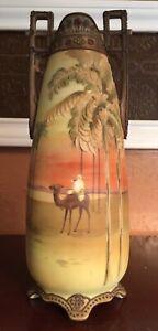 "Gorgeous Rare 12.5"" Nippon Camel Rider Vase with Moriage Palm Tree mark#47"