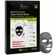 5 Days Black Charcoal Aloe Facial Mask Skin Elasticity Pores Moisture (5 Sheets)