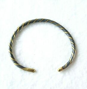 "Metal Bracelet, Hand Made, Twisted Iron & Brass, 7 1/2"" Rustic, Unisex Jewelry"