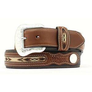 Nocona Men's Top Hand Brown & Black with Overlay Belt N2475701