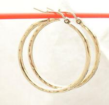 "2mm X 30mm 1 1/4"" FULL Diamond Cut Hoop Earrings REAL 10K Yellow Gold FREE SHIP"