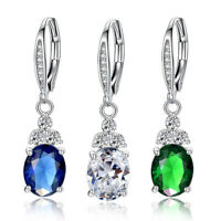 3 Colors Gorgeous Drop Earrings Women 925 Silver Jewelry Cubic Zircon A Pair/set