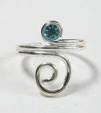 Sterling  Silver  (925)  Adjustable Topaz  Stone  Spiral  Toe  Ring !!    New !!