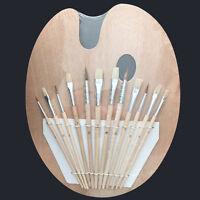 WOOD PALETTE + 12 PCS Artist BRUSH Set for Watercolor Oil Paintiing Art Supplies