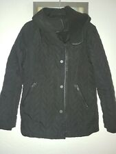 Ladies Womens NEXT Black hooded Quilted Outerwear Coat jacket Size 14 petite VGC