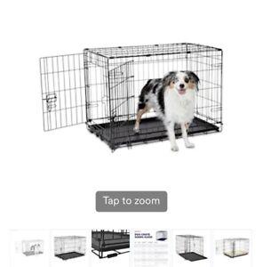 Medium Size Folding Metal Dog Crate - Black