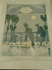 Clair de Lune romance Parc les cygnes Print Art Déco 1910