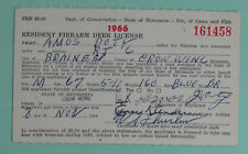 1966 Minnesota Resident Firearm Deer Hunting License Tag...Free Shipping!