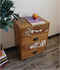 Nachttisch Kommode KUBUS aus Massivholz und Kuhfell Vintage Retro NEU