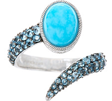 Judith Ripka Turquoise + Blue Topaz  Sterling Silver Ring - 9   NWT  🌸