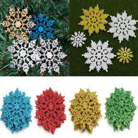 12* Colorful Glitter Snowflake Christmas Ornaments Xmas Tree Hanging Decorations