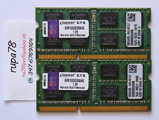 MEMORIA RAM KINGSTON 8GB 2x 4GB PC3 10600 DDR3 SODIMM KVR1333D3S9/4G 1333 204pin