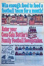 Coca Cola ad page - Dallas Cowboys football promo for Coke, 1967 color Sunday ad