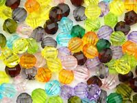 100 Mixed Colour Acrylic Beads Abacus Multi Faceted Rondelles Beads 12mm