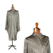 Vintage 80s Black + Silver Lame Avant Garde Batwing Caftan Cocktail Dress M
