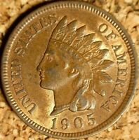 1905 Indian Head Cent - AU POLIQUIN VAR-54 DISCOVERY/PLATE, RPD LUSTER  (K083)