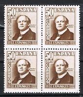 ESPAÑA 1039** BLOQUE 4 SELLOS 50 CENTIMOS CENT.FERROCARRIL