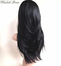 Off Black Long Wavy Straight 3/4 Wig Hairpiece Half Wig 010