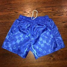 NEW Vtg 80s C.S. Blue CHECKERED Shorts Nylon umbro Soccer shiny glanz MENS SMALL