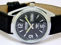MEN,S CITIZEN AUTOMATIC STEEL VINTAGE DAY DATE BLACK DIAL WRIST WATCH RUN ORDEr.