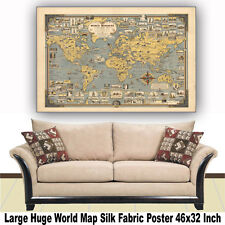 """Poster World Map Vintage Building Large Huge Giant Silk Fabric Canvas 46""""x32"""""""