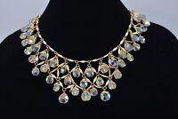 Aurora Borealis Crystal Layered Collar Vintage Necklace Gold Tone Sparkling Bin1