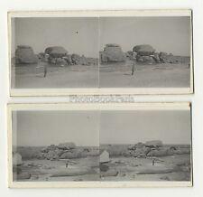 Plage de Ploumanac 2 Photos amateur stéréo Vintage argentique 1932