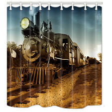 Bathroom Shower Curtain Old Steam Train Waterproof Fabric 71*71 inches 12 Hooks