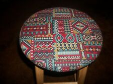 "13"" Reversible Kitchen Bar Stool Slip Cover Indian Aztec to Gold Damask Fabric"