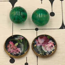 2 Pairs of Earrings Old Clip - Enamel and Glass - Vintage
