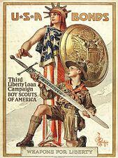 Guerra di propaganda WWI USA LIBERTY SPADA SCOUT BOY SCUDO Arte Poster Stampa lv7277