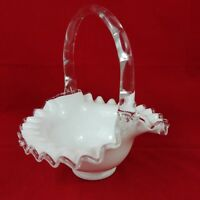 Fenton Milk Glass Silver Crest Trim Basket Style Candy Dish Bamboo - Lot #10