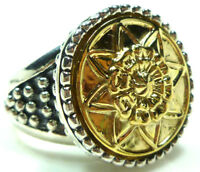 STERLING SILVER 18K GOLD CAVIAR DOT DESIGNER SU FLOWER STAR ROUND RING SIZE 7