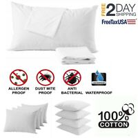 4 Pillow Protector Cover Case Waterproof Zippered Terry Cotton Standard 20x26