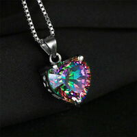 Mystic 925 Silver Jewelry Rainbow Chain Heart-shaped Pendant Topaz Necklace Gift