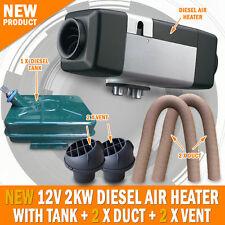 NEW 12 Volt 2KW Diesel Air Heater Metal Tank 2 x Vent 2 x Duct Caravan Motorhome